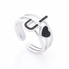 Серебряное кольцо Нью-Йорк с разомкнутой двойной шинкой, сердцем и черной эмалью