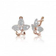 Серебряные сережки с цирконием Нарцисс