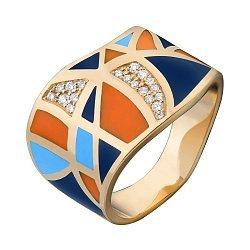 Кольцо в желтом золоте с бриллиантами и эмалью 000073421