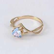 Золотое кольцо с голубым топазом Филадельфия