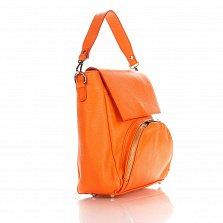 Кожаная сумка на каждый день Genuine Leather 8973 оранжевого цвета с накладным карманом на молнии