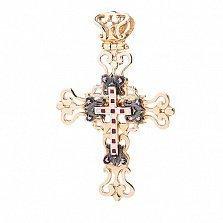 Золотой крестик Символ Христианства с эмалью
