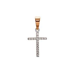 Серебряный крестик с золотой вставкой и цирконием Озарение души 000035900