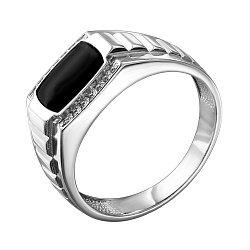 Серебряный перстень-печатка с эмалью и цирконием 000140641