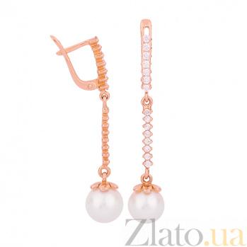 Золотые серьги с жемчугом и фианитами Жюлетта ONX--с01618