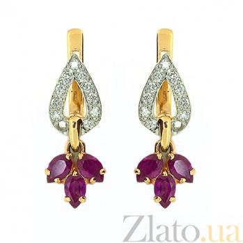 Золотые серьги с бриллиантами и рубинами Санти ZMX--ER-6537_K