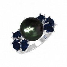 Серебряное кольцо Ксена с черным жемчугом и синтезированным сапфиром