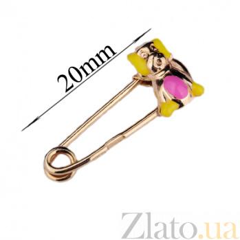 Золотая булавка с цветной эмалью Собачка ONX--зак00045