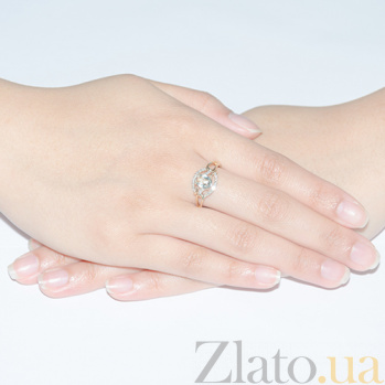 Золотое кольцо с бриллиантами и аметистом Солнечный бриз 140314к/амет
