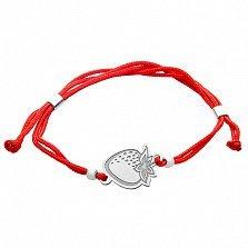 Шёлковый браслет Клубничка с серебряной вставкой
