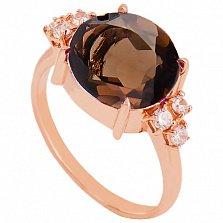 Золотое кольцо Дэриа с раухтопазом и фианитами