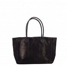 Кожаная сумка на каждый день Genuine Leather 7804 черного цвета на молнии и магнитной кнопке