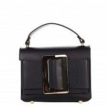 Кожаный клатч Genuine Leather 1683 черного цвета с короткой ручкой и декоративной пряжкой