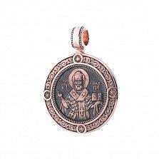 Золотая ладанка Святитель Николай с чернением