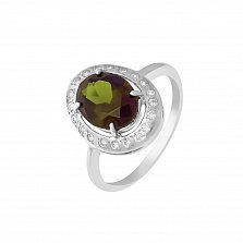 Серебряное кольцо Орнелла с синтезированным султанитом и фианитами