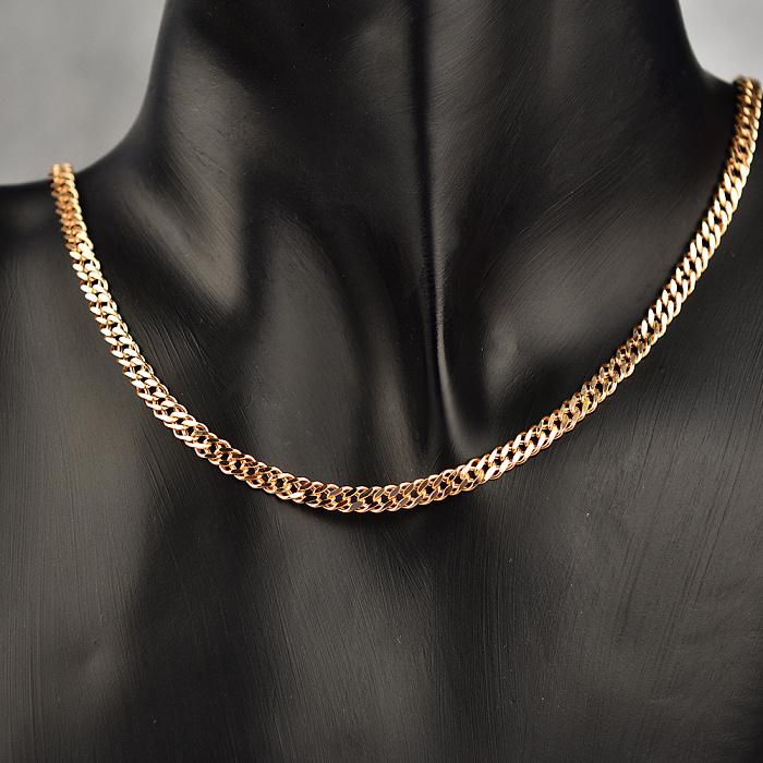Золотая цепь плетения двойной ромб с алмазной гранью, 4мм 000115631 000115631