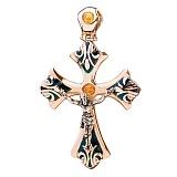 Золотой крестик Помазанник Божий с эмалью
