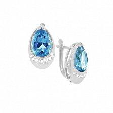 Серьги из белого золота Чистая капель с голубыми топазами и бриллиантами