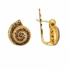 Серьги из желтого золота с фианитами Марианна