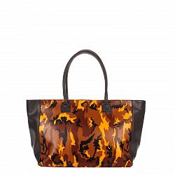 Кожаная сумка на каждый день Genuine Leather 8023 с принтом хаки и черными вставками, на молнии