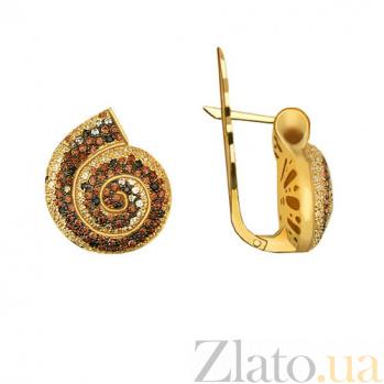 Серьги из желтого золота с фианитами Марианна VLT--ТТ294-1