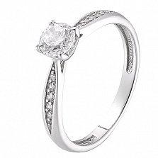 Серебряное родированное кольцо Аделлина с фианитами