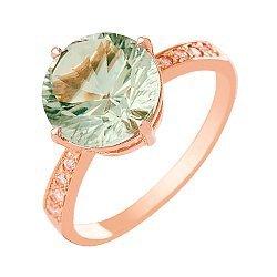 Золотое кольцо Эстель с синтезированным аметистом и фианитами 000018513