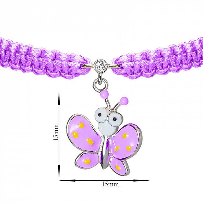 Детский плетеный браслет Фиолетовый мотылек с эмалью и фианитом, 10х20см 000080624
