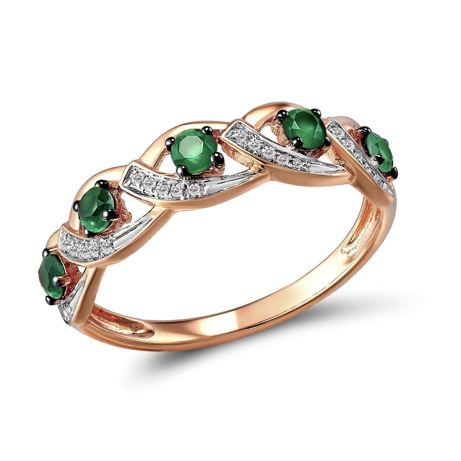 Кольцо из красного золота Кортни с бриллиантами и изумрудами