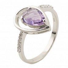 Серебряное кольцо Аманта с аметистом и фианитами