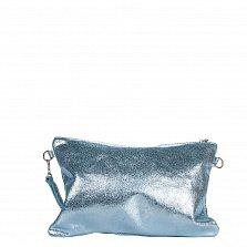 Кожаный клатч Genuine Leather 1661 цвета голубая сталь с короткой ручкой на запястье и молнией