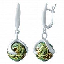 Серебряные серьги-подвески Азалия с цветной эмалью
