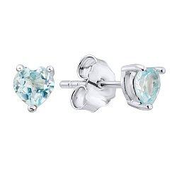 Серебряные серьги-пуссеты с бледно-голубыми топазами 000125140