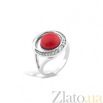 Серебряное кольцо Белиссимо с кораллами и фианитами 000082141