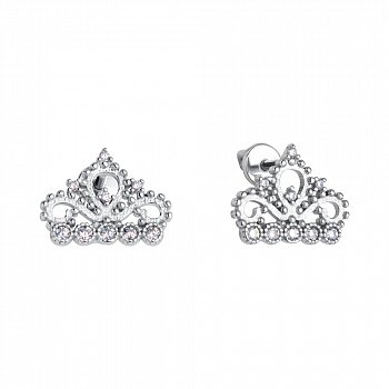 Серебряные серьги-пуссеты с коронами и фианитами 000116744