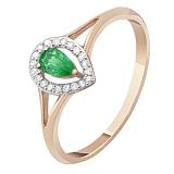 Золотое кольцо с изумрудом и бриллиантами Карина