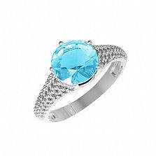 Серебряное кольцо Эмили с голубым кварцем и фианитами
