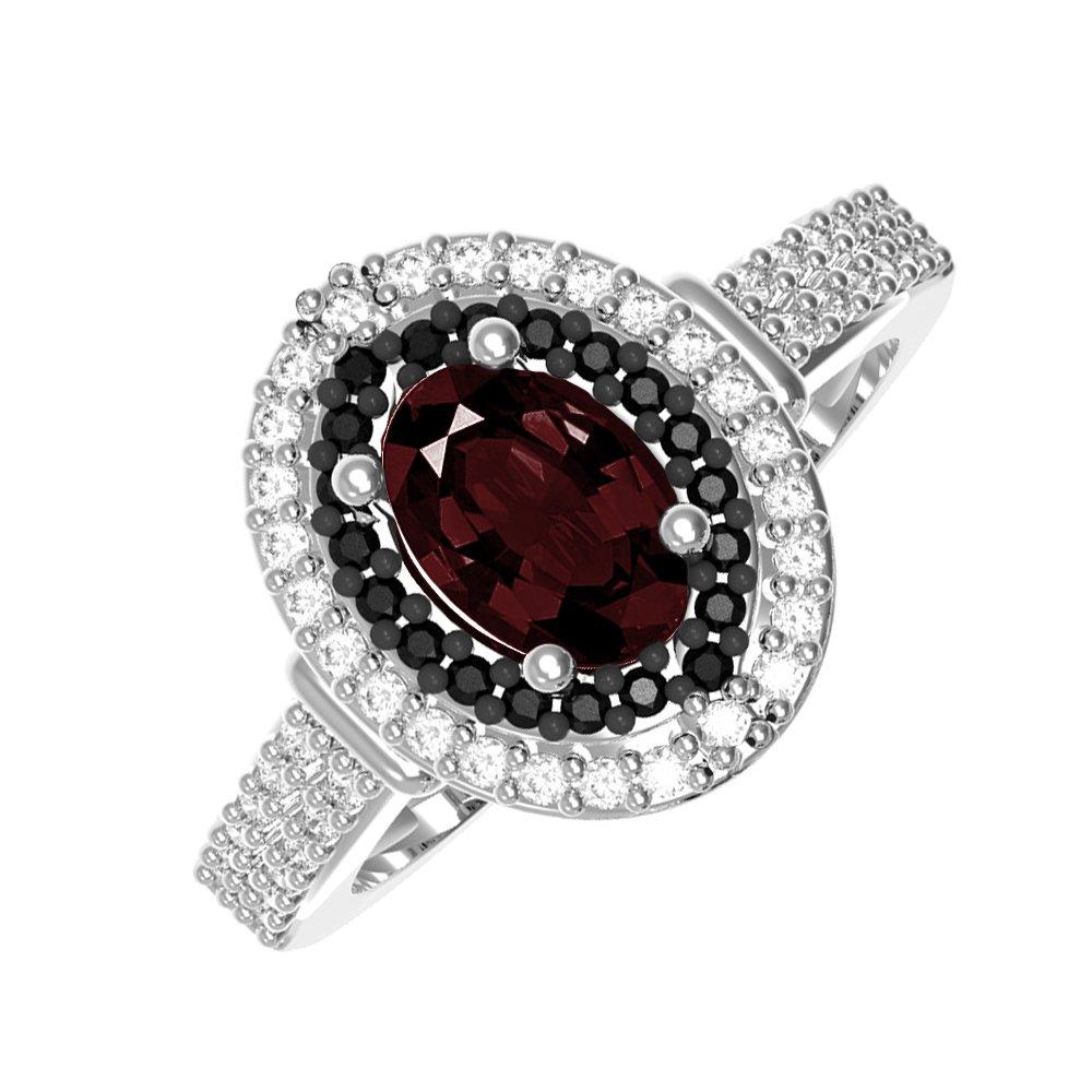 Серебряное кольцо Тея с гранатом, черными и белыми фианитами