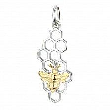 Серебряный подвес Работящая пчелка с позолотой