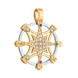 Золотой подвес Путеводная звезда с фианитами 000042466