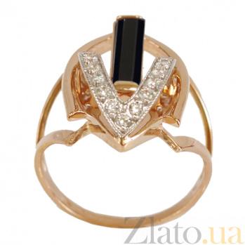 Золотое кольцо с агатом и фианитами Указание свыше 000024526