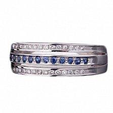 Золотое кольцо с дорожками сапфиров и бриллиантов Ариана