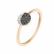 Кольцо в красном золоте День и ночь с бриллиантами