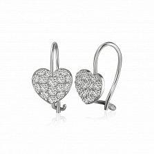 Серебряные серьги Признание с фианитами