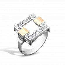 Серебряное кольцо Тиана с золотыми накладками и фианитами