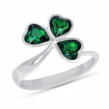 Серебряное кольцо Удача с синтезированным изумрудом