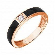 Золотое кольцо Гермиона с цирконием и эмалью
