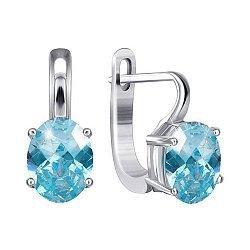 Серебряные серьги Эдвена с фианитами цвета голубого топаза