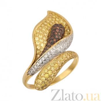 Кольцо из желтого золота Камелия с фианитами VLT--ТТ1021-1