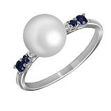 Кольцо из белого золота Блаженство с сапфирами, бриллиантами и жемчугом